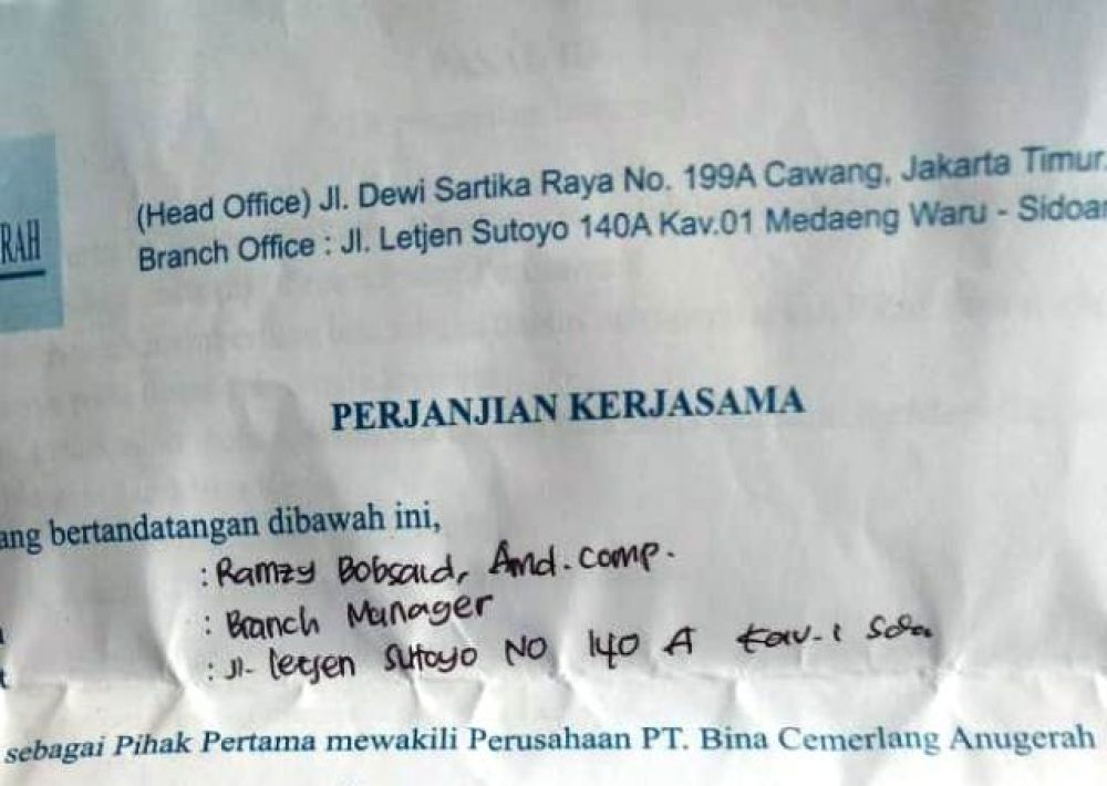 PT Bina Cemerlang  Anugerah Akali Calon Pekerja?