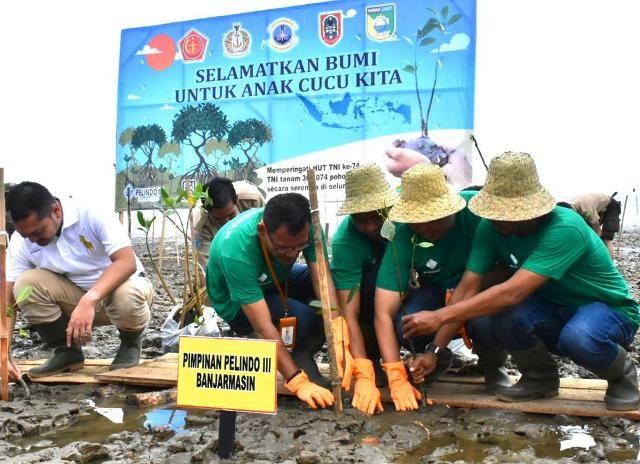 Sinergi Pelindo III dan TNI Tanam Bibit Bakau