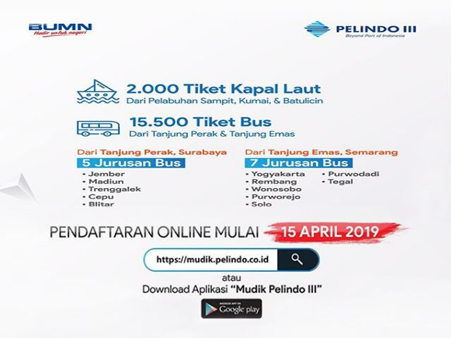 Pelindo III Bagikan 17.500 Tiket Kapal dan Bus Gratis