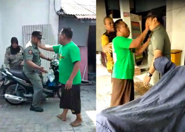 Satpol PP Ditempeleng Tim Caleg Surabaya