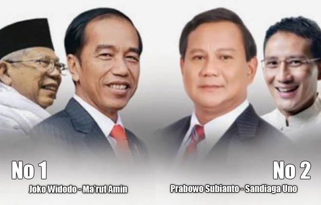 Jokowi-Ma'ruf No Urut 1, Prabowo-Sandi No Urut 2